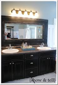 Frames For Mirrors In Bathrooms Framed Mirror Tutorial Bathroom Mirrors Bathroom Mirror Redo