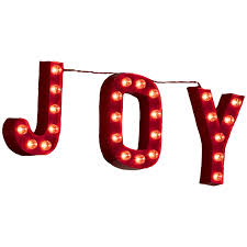 shop holiday living pre lit joy sign with constant clear white