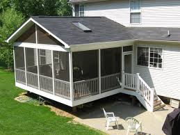 simple outdoor with white aluminum screened porch kits and white
