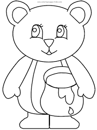 bear holding a honey pot color page free printable coloring