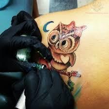 blue moon and owl on back shoulder