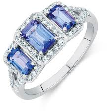 tanzanite stones rings images Three stone ring with tanzanite 1 4 carat tw of diamonds in 10ct jpg