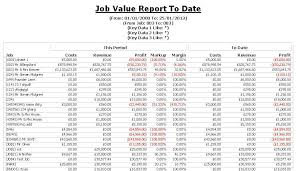 construction cost report template construction industry accounts cia software reports