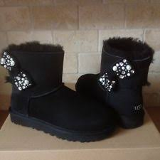 womens ugg boots mini bailey bow ugg s mini bailey bow knit black boots size 9 ebay