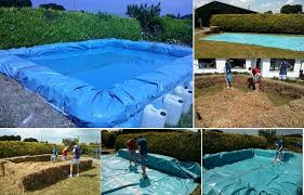 How To Make A Hay Bail Blind Build Your Own Swimming Pool From Bales Of Hay Home Design