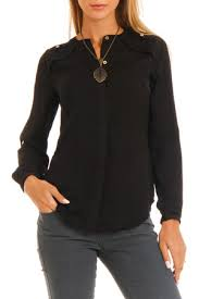 black button up blouse ls crew neck button up blouse by vertigo