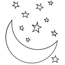 Coloriage Croissant de Lune et Étoiles dessin gratuit à imprimer