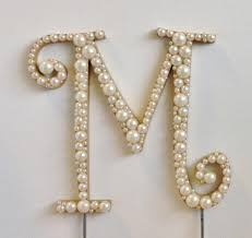 pearl monogram cake topper curly pearl monogram cake topper font 2 any letter