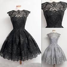 short dresses for prom black vintage lace appliques sheer real
