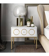 white lacquer gold details side table nightstand