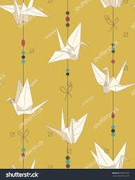seamless vector pattern paper cranes origami stock vector