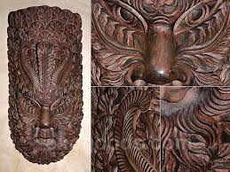 wooden wall mask from the island of gods large carved ethnic