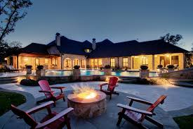 exteriors a fire pit of material stones neatly adorn the
