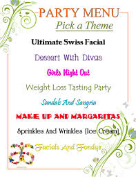 arbonne party menu