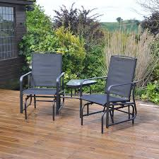 kingfisher black gliding love seat rocking chairs outdoor garden furniture set co uk garden outdoors