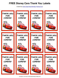 free disney cars thank you labels print them on sticker paper or
