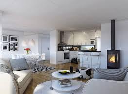salon cuisine ouverte cuisine ouverte sur salon et salle à manger en noir et blanc avec