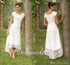 vintage short hi lo wedding dresses tea length 2016 full lace