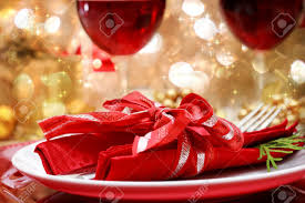 decorated christmas dinner table setting stock photo picture and