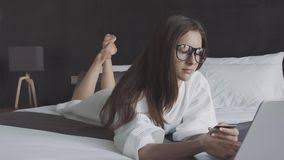 Bed Shoppong On Line Online Shopping On The Bed Video Footage 65350339 Megapixl