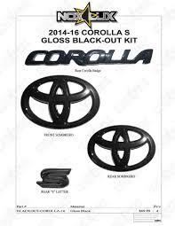 toyota corolla logo 2014 2016 toyota corolla s gloss black out emblem overlay kit