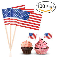 100pcs us flag picks american flag food toothpicks cupcake toppers