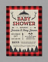 lumberjack baby shower invitation with buffalo plaid in red and