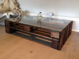 coffee table large glass top upcycled wooden coffee table