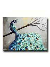 Blue Bird Home Decor Giclee Print Art Abstract Peacock Painting Modern Bird