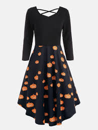 halloween pumpkins cats print plus size flare dress in orange xl