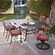 Cast Aluminum Patio Furniture Red Ember San Miguel Cast Aluminum 48 In Round Gas Fire Pit Chat