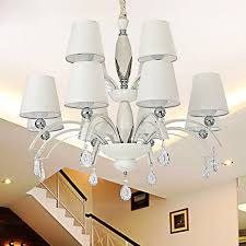 dining room chandeliers modern in 8 light fabric shade painting finish