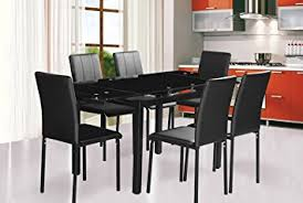Black Extendable Dining Table Dining Table And 6 Chairs Extending Dining Table In Black Glass