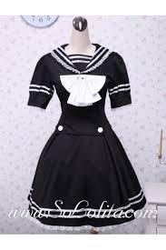 black cotton white bow lace trim sailor dress cheap black
