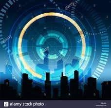 futuristic background with hologram touch panel and modern city