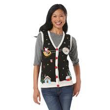 womens sweater vest editions s sweater vest santa s sleigh