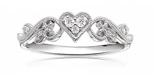 heart design rings images Diamond heart scroll design promise ring in 10k white gold png