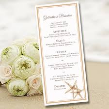 printable wedding menu template beach starfish