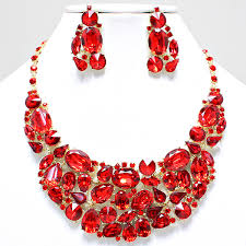 earrings statement necklace images Fancy crimson red chunky formal bridal crystal statement necklace jpg