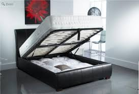 Ottoman Black Leather Collection In Leather Ottoman Bed With Francis Black Faux Leather