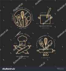 golden linear design elements set kitchen stock vector 708653962