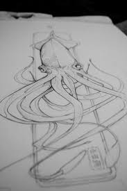 drawn squid water pencil and in color drawn squid water