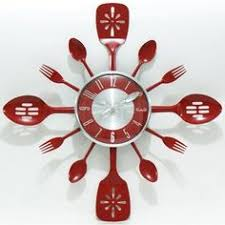 Kitchen Utensils Red - 15 excellent designs of kitchen wall clocks home clock and wall