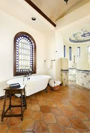 Powder Room Towels - terra cotta tile powder room mediterranean with vigas contemporary