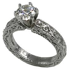 palladium engagement rings palladium cz zirconia antique engagement solitaire ring