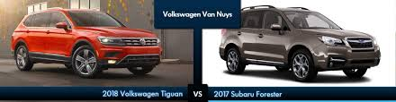 subaru forester 2018 review compare the all new volkswagen tiguan to the subaru forester van