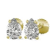 moissanite earrings moissanite pear cut stud moissanite earrings 1 70 ct 14k yellow