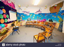 Classroom Desk Set Up A Classroom With A Marine Life Theme And Chairs Set Up In A Stock
