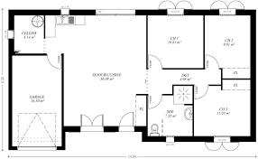 plan de maison 3 chambres salon modele plan maison plain pied gratuit de masse avec 3 chambres salon