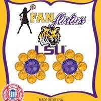 flirties earrings earrings medium betty bob posts purple and gold lsu tigers 18